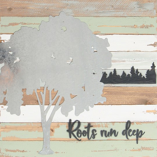 18X18 ROOTS RUN DEEP RECLAIMED WOOD SIGN WITH METAL DETAIL