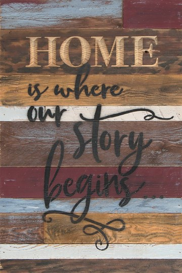12X18 HOME IS WHERE OUR STORY BEGINS RECLAIMED WOOD SIGN WITH CARVED DETAIL
