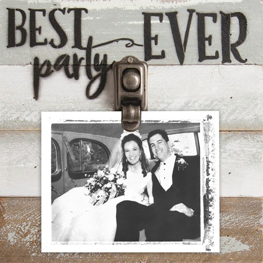8X8 BEST PARTY EVER  RECLAIMED WOOD CLIP FRAME