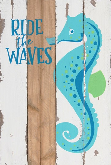 8X12 RIDE THE WAVES RECLAIMED WOOD SIGN