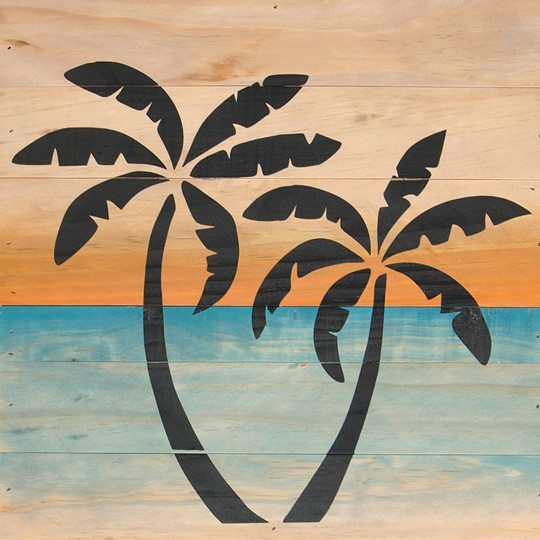 12X12 PALM TREES RECLAIMED WOOD SIGN