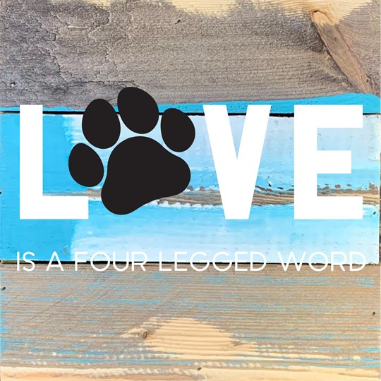 Love Pets 8x8 Reclaimed Wood Wall Art