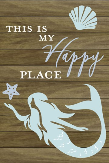 This is My Happy Place Mermaid 12x8 Indoor/Outdoor Recycled Polystyrene Wall Art