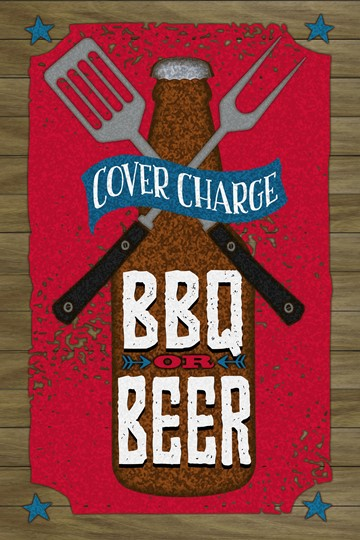 BBQ and Beer 12x18 Indoor/Outdoor Recycled Polystyrene Wall Art