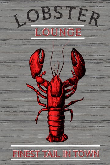 Lobster Lounge 12x8 Indoor/Outdoor Recycled Polystyrene Wall Art