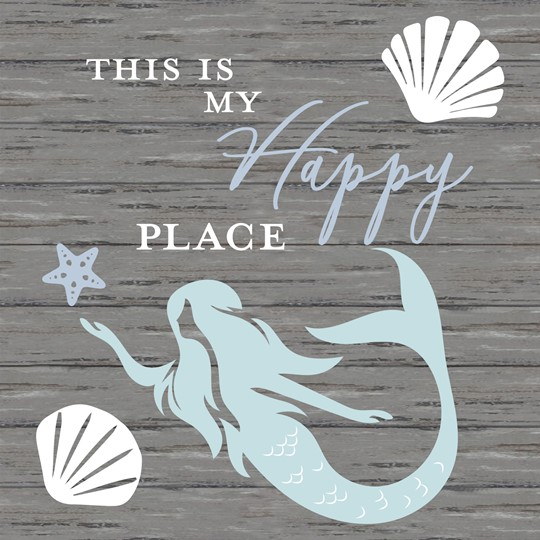 This is My Happy Place Mermaid 22x22 Indoor/Outdoor Recycled Polystyrene Wall Ar