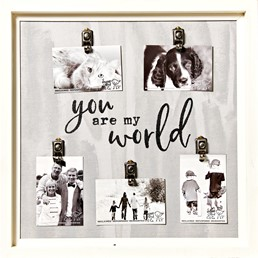 You Are My World 22x22 Reclaimed Wood Clip Frame