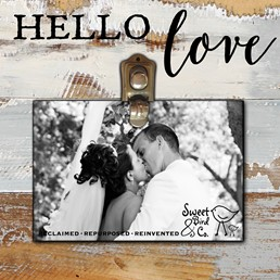 Hello Love 8x8 Reclaimed Wood Clip Frame