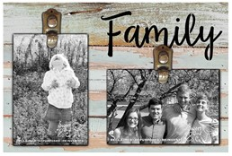 Family 12x8 Reclaimed Wood Seafoam Clip Frame