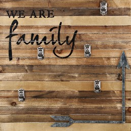 We Are Family 22x22 Reclaimed Wood Clip Frame