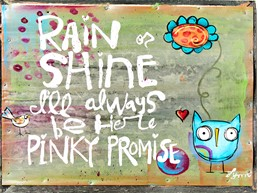 Always Be Here Pinky 8x6 Reclaimed Metal Wall Art