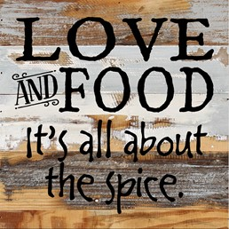 Love and Food... 12X12 Reclaimed Wood Wall Art