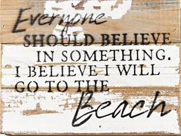 Go To The Beach 8x6 Reclaimed Wood Wall Art