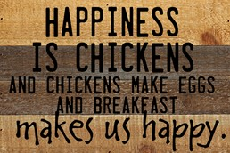Happiness Is Chickens 12x8 Reclaimed Wood Wall Art