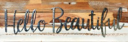 Hello Beautiful 24x8 Reclaimed Wood Frame Wall Art