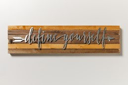 Define Yourself 32x8 Reclaimed Wood Wall Art
