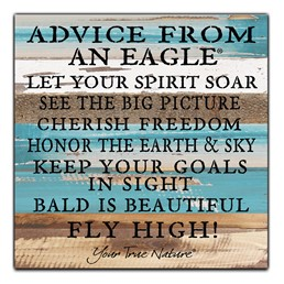 Advice from an Eagle 12X12 Reclaimed Wood Wall Art