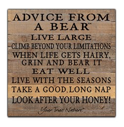 Advice From A Bear 12x12 Reclaimed Wood Wall Art