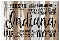 Indiana Est 1816 18x12 Reclaimed Wood Wall Art