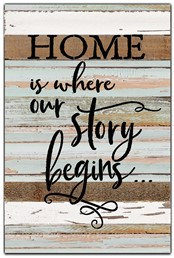 "Home is where our story begins 12x18"" Reclaimed Wood Sign - Sea Foam"