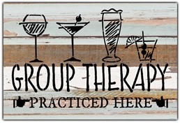 "Group Therapy practiced here 12x8"" Reclaimed Wood Sign - Sea Foam"