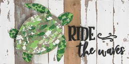 16X8 RIDE THE WAVES SEA TURTLE RECLAIMED WOOD SIGN