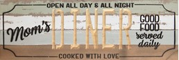 24X8 DINER RECLAIMED WOOD SIGN WITH CARVED DETAIL
