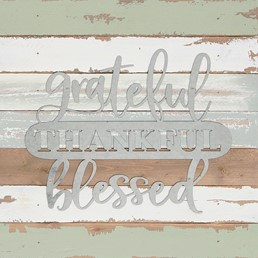 14X14 GRATEFUL THANKFUL BLESSED RECLAIMED WOOD SIGN WITH METAL DETAIL