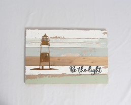 18X12 BE THE LIGHT LIGHTHOUSE RECLAIMED WOOD SIGN WITH METAL DETAIL
