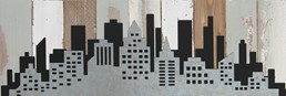 18X6 CITY SCAPE RECLAIMED WOOD SIGN WITH METAL DETAIL