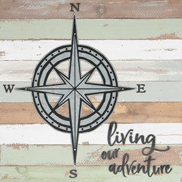18X18 LIVING OUR ADVENTURE RECLAIMED WOOD SIGN WITH METAL DETAIL