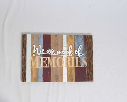 18X12 WE ARE MADE OF MEMORIES RECLAIMED WOOD WITH CARVED DETAIL