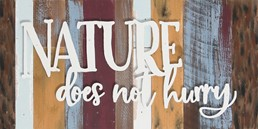 16X8 NATURE DOES NOT HURRY RECLAIMED WOOD SIGN WITH RAISED LETTERS