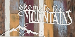 16x8 MOUNTAINS RECLAIMED WOOD SIGN WITH RAISED LETTERS