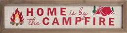 HOME CAMPFIRE EMBROIDERED WOOD SIGN