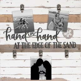 22x22 HAND IN HAND ON THE EDGE OF THE SAND RECLAIMED WOOD CLIP FRAME