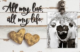 12X8 ALL MY LOVE ALL MY LIFE  RECLAIMED WOOD CLIP FRAME