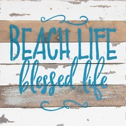 12x12 BEACH LIFE BLESSED LIFE RECLAIMED WOOD SIGN