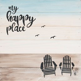 12x12 MY HAPPY PLACE RECLAIMED WOOD SIGN