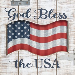GOD BLESS THE USA WOOD SIGN