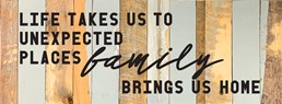Family Brings Us Home 12x32 Reclaimed Wood Wall Art