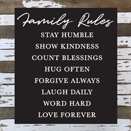 Family Rules 24x24 Reclaimed Wood Wall Art