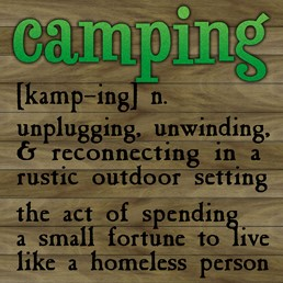 Definition of Camping 12x12 Indoor/Outdoor Recycled Polystyrene Wall Art