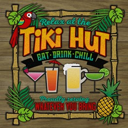 Relax at the Tiki Hut 12x12 Indoor/Outdoor Recycled Polystyrene Wall Art
