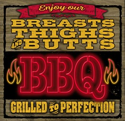 Breasts Thighs Butts BBQ 12x12 Indoor/Outdoor Recycled Polystyrene Wall Art